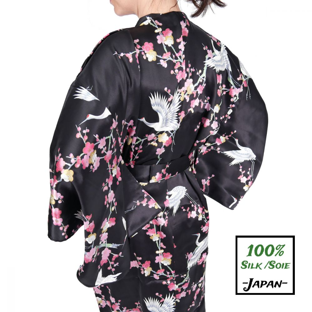 japanese black silk kimono yukata plum and crane for women