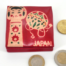 Japanese style leather wallet, KOKESHI, red
