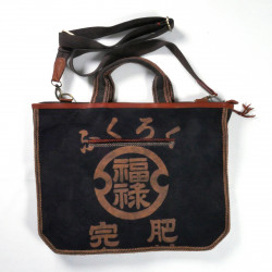 unique tote bag made of recycled Japanese fabrics, 145C, brown and blue