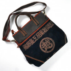Unique large bag made of recycled Japanese fabrics, 149 D, black and brown