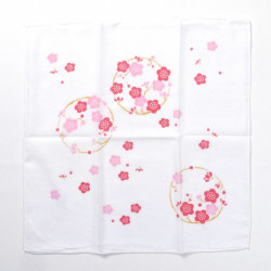 japanese white cotton handkerchief plum flower 35x35cm UME NO MARU