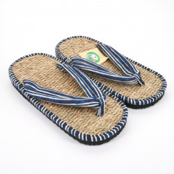 pair of Japanese sandals zori seagrass, 041M, lines