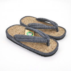 pair of Japanese sandals zori seagrass, 041M, blue