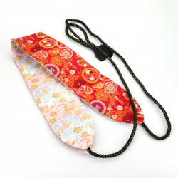Japanese traditional red and white reversible obi belt, KINRAN SAKURA