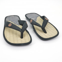 pair of Japanese sandals - Zori straw goza for men, ZORI 019 NAMI, blue