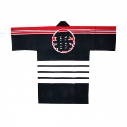 Japanese black traditional cotton haori jacket for matsuri festival ICHIBAN