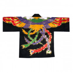 Japanese cotton black haori jacket for matsuri festival phoenix