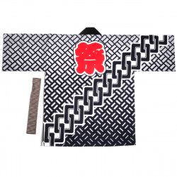 Japanese cotton black haori jacket for matsuri festival chain