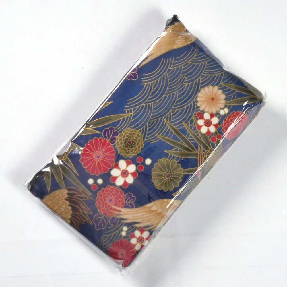 japanese cotton pouch bag 23x13,5cm with tissue case and hand mirror