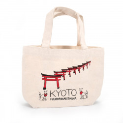 Japanese cotton tote bag, KYOTO, temple