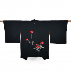 Japanese black vintage haori For Women SHIBORIGIKU chrysanthemum
