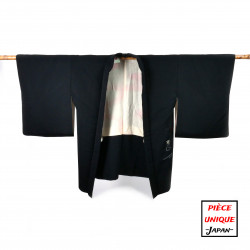 Japanese black vintage haori For Women SHIBORI jungle