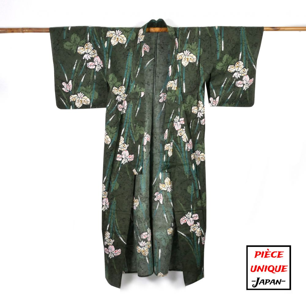 Japanese vintage kimono For Women SHÔTAKU green