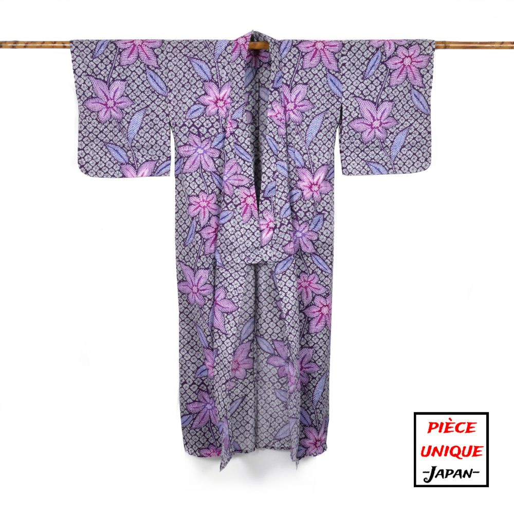 Japanese vintage kimono For Women HANASHIBORI purple