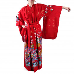 Japanese traditional red kimono gilt poem and princess for ladies
