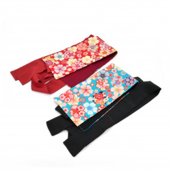 Japanese blue or red vintage obi belt, HANA, Flowers
