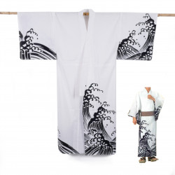 Japanese cotton prestige yukata for men KURONAMI white