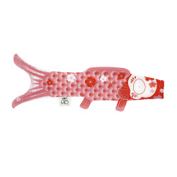 Pink koi carp-shaped windsock KOINOBORI CORAL
