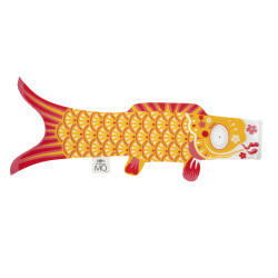 Yellow koi carp-shaped windsock KOINOBORI INDIAN