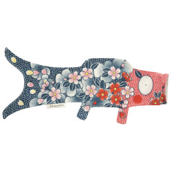 Blue red koi carp-shaped windsock KOINOBORI TATTOO SAKURA