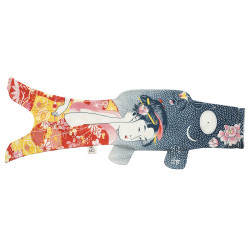 blue red koi carp-shaped windsock KOINOBORI TATTOO GEISHA