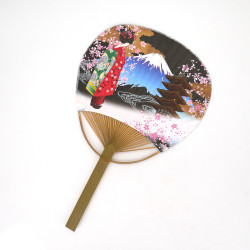 japanese non-folding fan uchiwa GEISHA, black