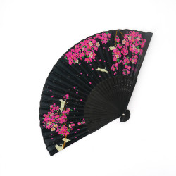 japanese black fan made of silk and bamboo, SAKURA, flowers and cats
