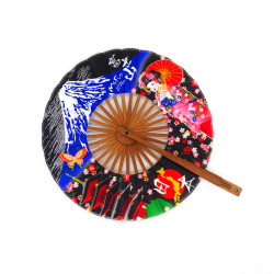 japanese black round fan made of silk and bamboo, FUJI, geisha