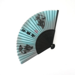 japanese grey fan made of silk and bamboo, SHISA, guardians