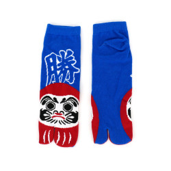 japanese cotton tabi socks for men, DARUMA, blue and red