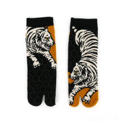 japanese cotton tabi socks for men, TIGER, black