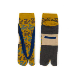japanese cotton tabi socks for men, RICKSHAW, yellow