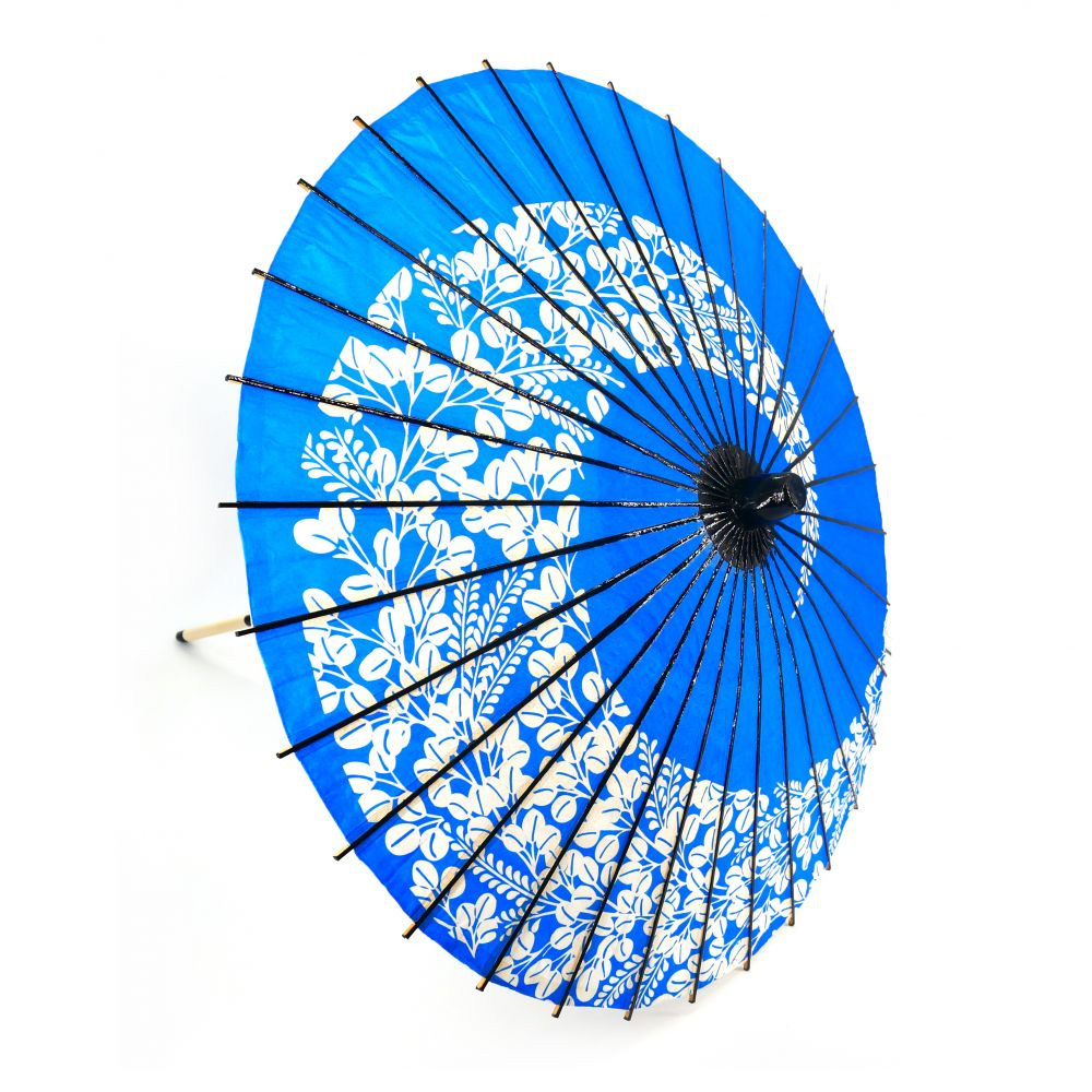 Japanese white and blue traditional umbrella , WAGASA FUJI, wistaria