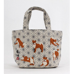 Japanese cotton tote bag, ASANOHADOG, grey dog