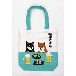 Japanese cotton A4 size bag, DOGBEER, white and turquois