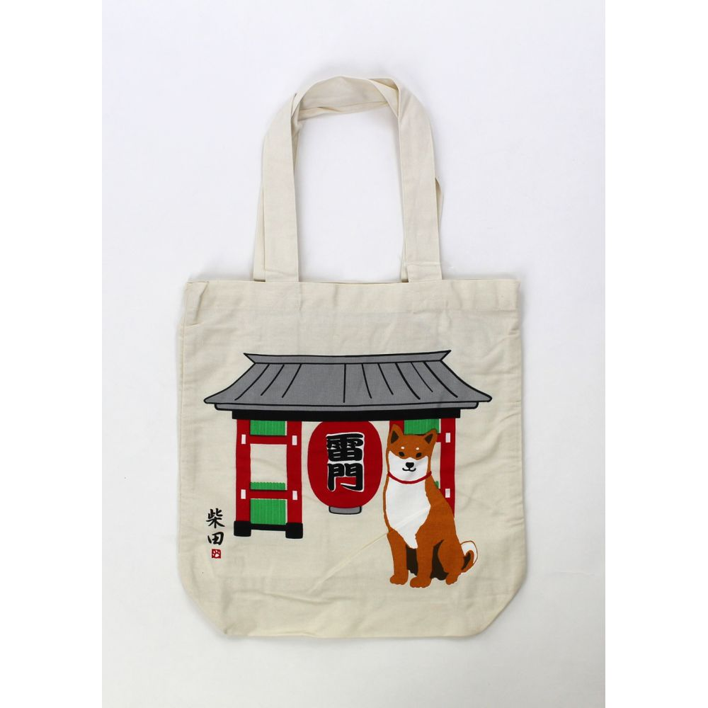 Borsa A4 size bag beige in cotone giapponese, TEMPLEDOOR, rosso