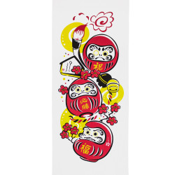 Japanese cotton towel TENUGUI DARUMA, lucky charm