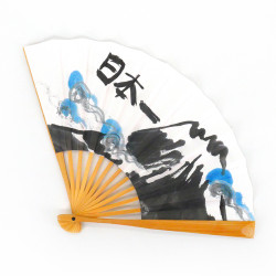 japanese fan in paper and bamboo, FUJISAN, mountain