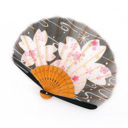 japanese black fan 21cm for women, BIGSAKURA, cherry blossoms