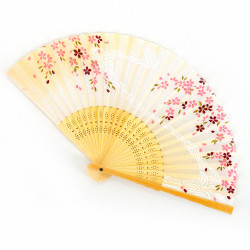 Japanese pink fan 21cm for women, SAKURA, flower currents
