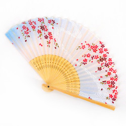 Japanese blue fan 21cm for women, SAKURA, flower currents