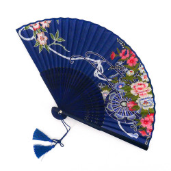 dark blue japanese fan 20,5cm in paper and bamboo, HANAGURUMA, flower wheel