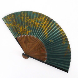 japanese green fan 22cm for man in paper and bamboo, SUZUME, sparrow