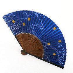 japanese blue fan 22cm for man in paper and bamboo, HOTARU, firefly