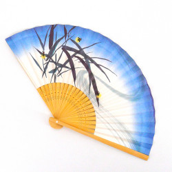 japanese white and blue fan 22,5cm for man in paper and bamboo, HOTARU, firefly