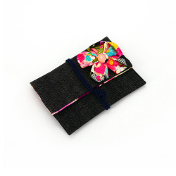 cotton tissue case for handkerchief, CHIRIMEN, flower patterns