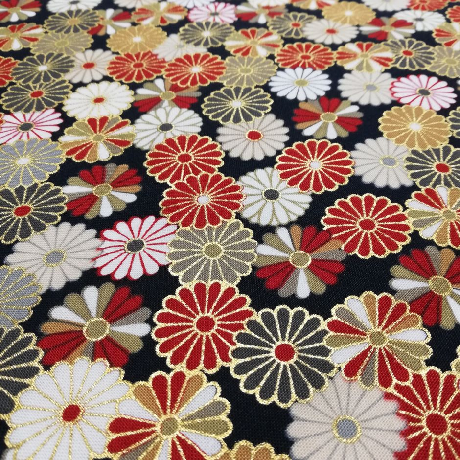 Black Japanese cotton fabric with chrysanthemum made in Japan width 110 cm x 1m