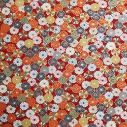 Red Japanese cotton fabric with chrysanthemum made in Japan width 110 cm x 1m