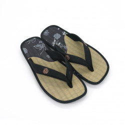 pair of Japanese sandals - Zori straw goza for men, ZORI 019 KAMON, blue