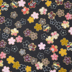 Black Japanese cotton fabric sakura flowers made in Japan width 110 cm x 1m